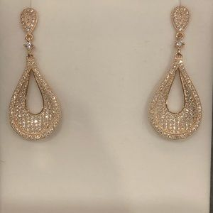 """New Rose Gold and CZ drop post back earrings 1.5"""""""